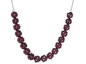 Purple raspberry color rhodolite sterling silver necklace