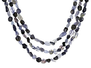 Blue iolite nugget sterling silver necklace