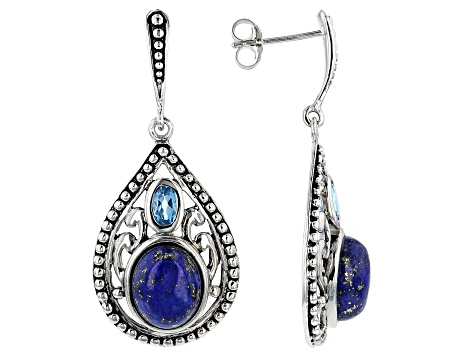Blue lapis lazuli sterling silver earrings .50ctw