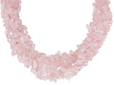 Pink Rose Quartz Rhodium Over Sterling Silver Necklace