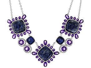 Blue lapis lazuli sterling silver necklace 10.75ctw