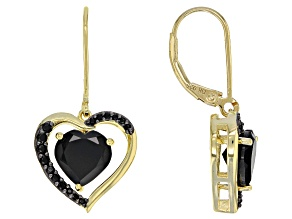 Black spinel 18k gold over silver dangle earrings 3.51ctw