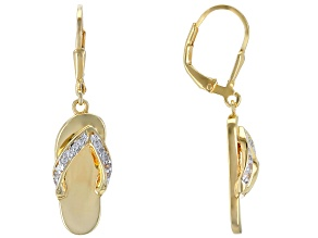 White zircon 18k yellow gold over silver flip flop earrings .18ctw