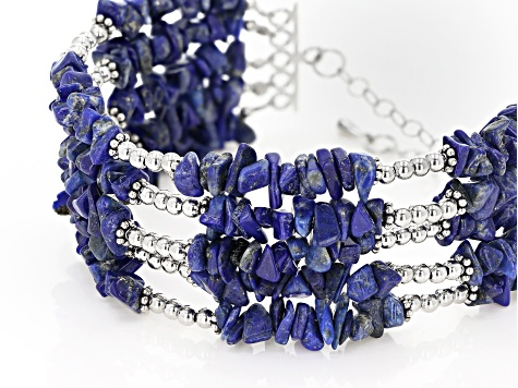 Natural Blue and Red Corundum Stretchable Chip Bracelet 110.00 ctw