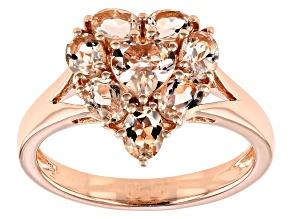 Pink Morganite 18k Rose Gold Over Sterling Silver Ring 1.23ctw