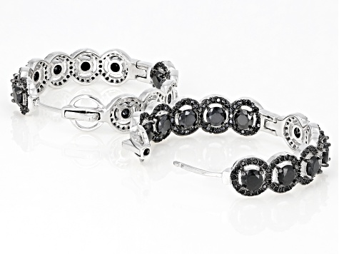 Black spinel rhodium over silver earrings 8.21ctw