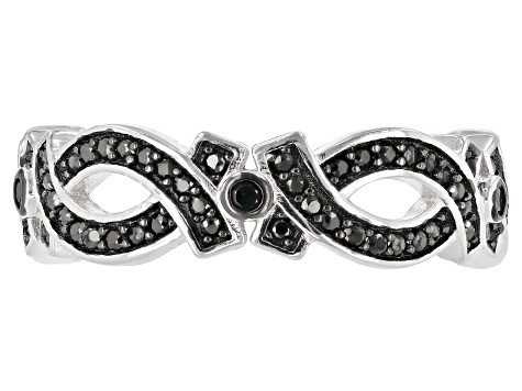 Black spinel rhodium over silver ring .70ctw