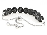 Black spinel rhodium over silver bolo bracelet 4.68ctw