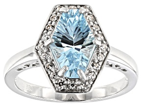 Sky blue topaz rhodium over silver ring 2.26ctw