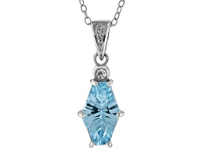 Sky blue topaz rhodium over silver pendant with chain 2.00ctw