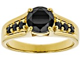 Black spinel 18k yellow gold over sterling silver ring 1.48ctw