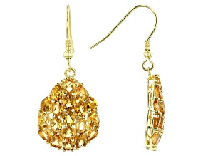 Yellow citrine 18k gold over silver earrings 5.52ctw