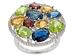 Multi-gemstone rhodium over silver ring 10.01ctw