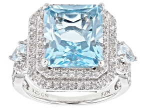 Blue topaz rhodium over silver ring 8.05ctw