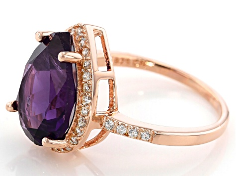 Purple amethyst 18k gold over silver ring 4.60ctw