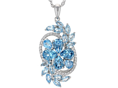 Swiss Blue Topaz Rhodium Over Silver Pendant with Chain 6.01ctw