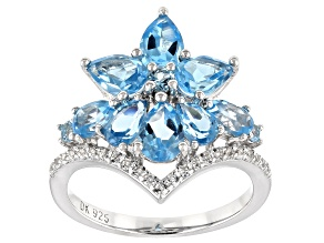 Blue Swiss topaz rhodium over silver ring 2.99ctw
