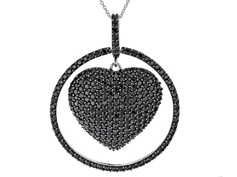 Black spinel rhodium over silver pendant with chain 9.46ctw