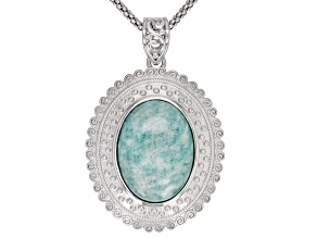 Blue Amazonite Sterling Silver Pendant With Chain