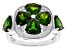 Green chrome diopside rhodium over silver ring 5.08ctw