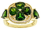 Green chrome diopside 18k gold over silver ring 5.08ctw