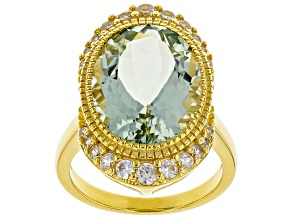 Green Prasiolite 18k Gold Over Silver Ring 7.67ctw