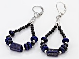 Blue Lapis Lazuli rhodium over sterling silver earrings 2.29ctw