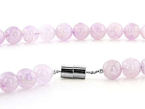 Lavender amethyst rhodium over sterling silver bead necklace