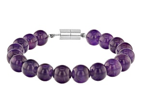 Purple African amethyst rhodium over silver bead bracelet
