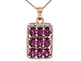 Raspberry Color Rhodolite 18k Rose Gold Over Sterling Silver Pendant with Chain 4.71ctw