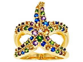 Multi-Gem 18k Gold Over Silver Starfish Ring 1.47ctw