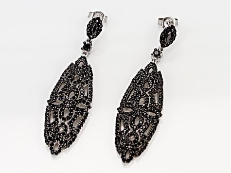 Black spinel rhodium over silver earrings 2.98ctw