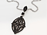 Black spinel rhodium over silver pendant with chain 1.79ctw