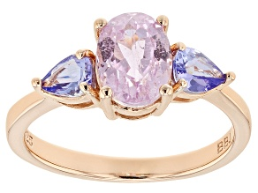 Pink kunzite 18k rose gold over sterling silver ring 2.00ctw
