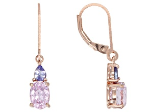 Pink kunzite 18k rose gold over sterling silver earrings 2.15ctw