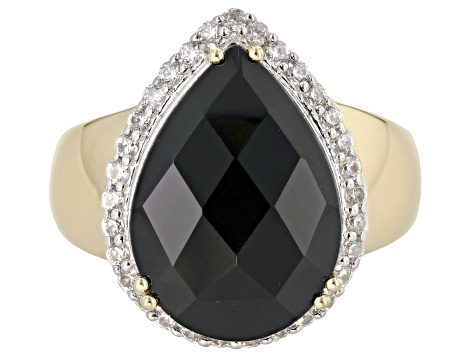 Black Spinel 18k Gold Over Silver Ring 10.76ctw