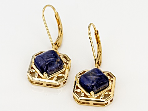 Blue sodalite 18k gold over silver dangle earrings