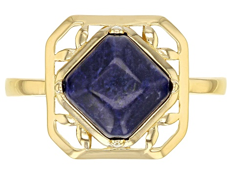 Blue sodalite 18k gold over sterling silver solitaire ring