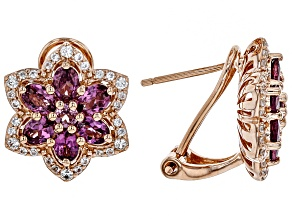 Pink Blush Color Garnet 18k Rose Gold Over Silver Earrings 2.82ctw
