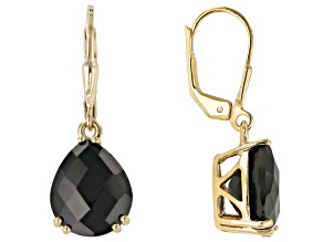 Black Spinel 18k Gold Over Silver Earrings 10.20ctw