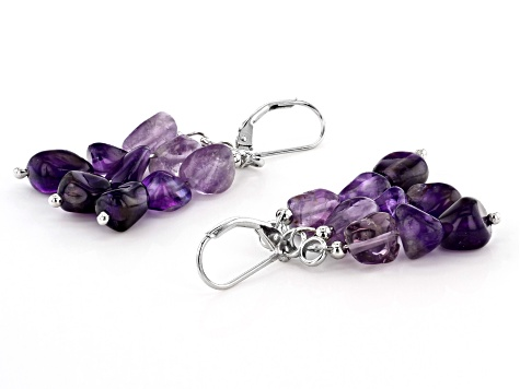 Purple amethyst sterling silver earrings