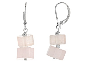 Pink morganite sterling silver earrings