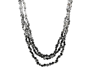 Colorless and black rutilated quartz sterling silver necklace