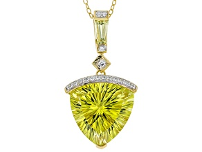 Yellow Canary quartz 18k yellow gold over silver pendant with chain 9.86ctw