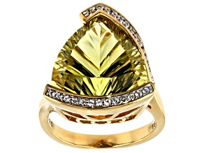 Yellow Canary quartz 18k yellow gold over silver ring 9.63ctw