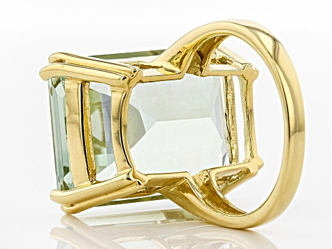Green prasiolite 18k yellow gold over silver ring 17.66ct