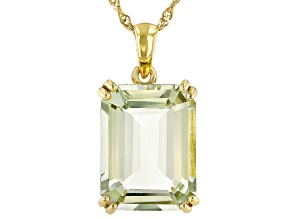 Green prasiolite 18k yellow gold over silver pendant with chain 17.66ct