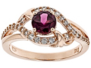 Raspberry color rhodolite 18k rose gold over silver ring 1.24ctw