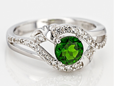 Green Russian Chrome Diopside Rhodium Over Silver Ring 1.12ctw