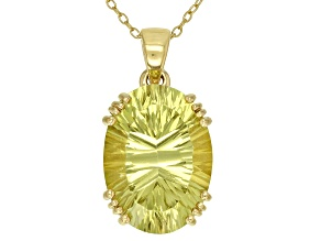 Yellow canary quartz 18k  gold over silver pendant with chain 10.75ct